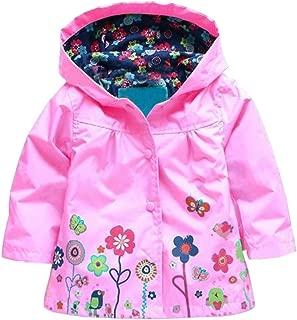 Baby Girl Kid Waterproof Floral Hooded Rain Jacket Outwear Raincoat with Hoodies