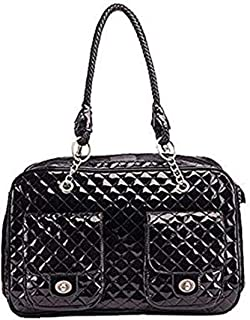 G-Petbag Globalwells White/Black Quilted Designer Inspired Faux Patent Leather Dog & Cat Pet Carrier Tote Handbag