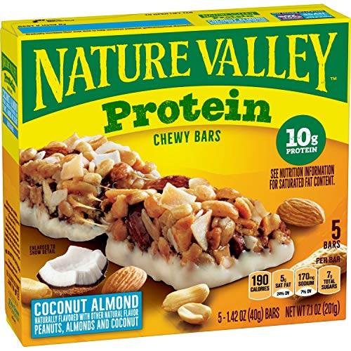 Nature Valley Protein Chewy Granola Bars, Coconut Almond, Gluten Free, 5 Bars