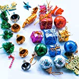 GENEIC 30pcs Christmas Tree Mini Ornaments 30 in 1 combo Items for Mini Christmas Tree Decorations And Home Wreath Decoration Bells, Balls, Decor Items Merry Xmas
