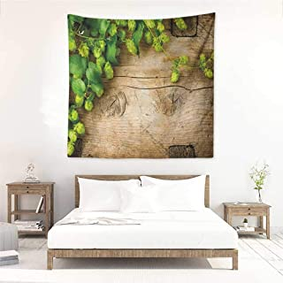 Plant DIY Tapestry Hop Twigs on an Old and Cracked Wooden Board Fresh Picked Whole Hops Brewing Home Decorations for Bedroom Dorm Decor 55W x 55L INCH Avocado Green Brown