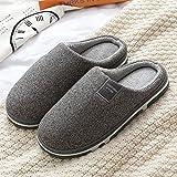 QPPQ Zapatillas de espuma viscoelástica, otoño e invierno parejas zapatillas de casa, zapatillas de algodón de felpa cálidas - Gray_7.5-8.5, zapatillas de algodón al aire libre