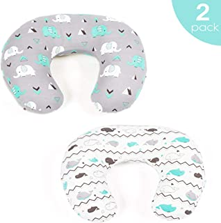 Stretchy Fitted Nursing Pillow Cover-Brolex 2 Pack Breastfeeding Pillow Slipcover for Nursing Mom's Unisex Boys Girls,Ultra Soft,Snug Fit,Elephant & Whale