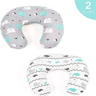 Stretchy Nursing Pillow Covers-2 Pack Nursing Pillow Slipcovers for Breastfeeding Moms,Ultra Soft Snug Fits On Infant Nursing Pillow,Elephant & Whale