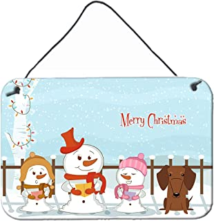 """Caroline's Treasures BB2461DS812 Merry Christmas Carolers Dachshund Red Brown Wall or Door Hanging Prints, 8"""" x 12"""", Multi..."""