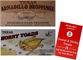 Texas Armadillo Droppings Delicious Dark Pecan Pralines and Texas Horny Toads Chewy Cashew Pralines Novelty Gift Box Plus ...
