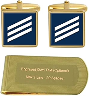 Select Gifts Sterling Engraved Cufflinks U.S Navy E-3 Constructionman