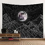 QAWD Blanco Negro Sol Luna Tapiz Mandala Tarot Colgante de Pared Celestial Hippie Fondo Tela Manta Tela Colgante A21 130x150cm