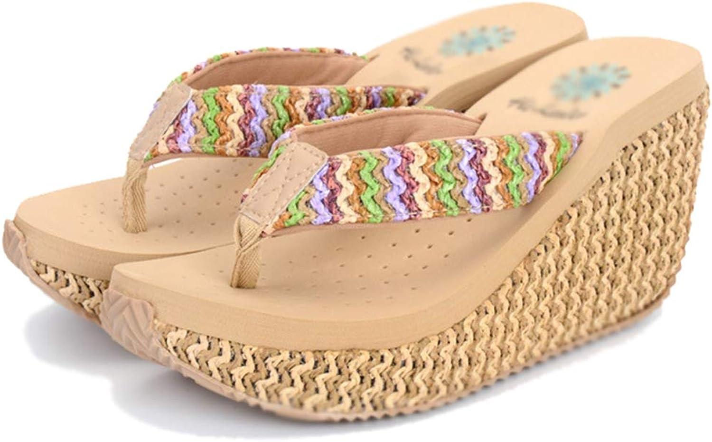 Drew Toby Women Wedge Flip Flops Non-Slip Platform Open Toe Slingback Thong Summer Sandals