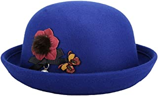 Lei Zhang Small Fresh and Lovely Big Round Curling Woolen hat hat (Color : Blue, Size : 57cm)
