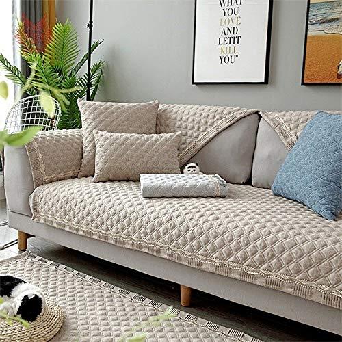 LDSHW Funda de sofá,Funda de sofá Antideslizante de Chenille Universal de Cuatro Estaciones de Color sólido Estilo nórdico, Caqui, 90cm180cm 1 Pieza