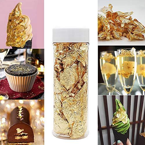 Sunsbell Hojuelas de Pan de Oro Comestibles Platos Decorativos de Hojuelas de Oro de 2G Pan de Oro Genuino para Cocinar Pasteles Y Chocolates Decoración Salud Y Spa Pintura Manualidades