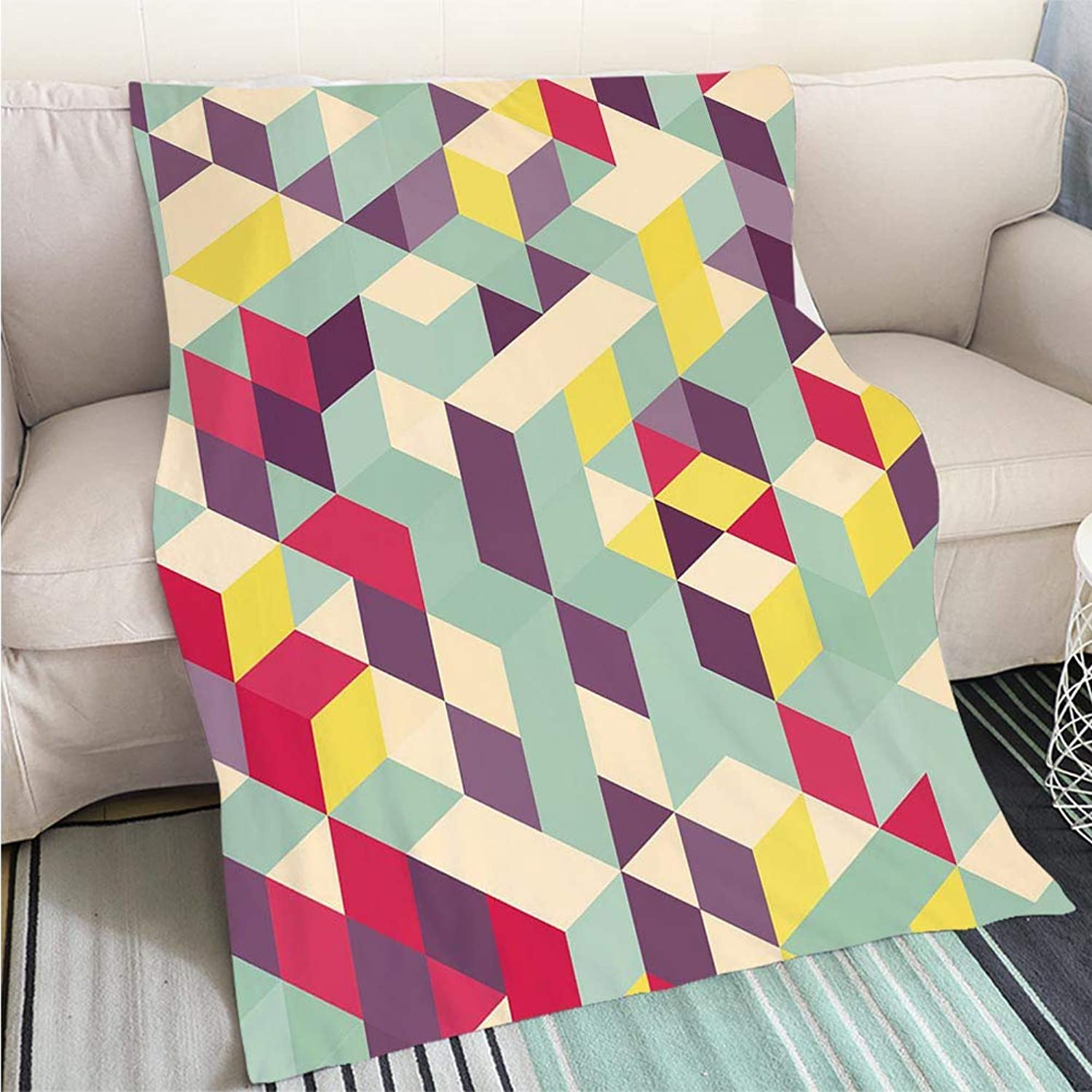 BEICICI Comforter Multicolor Bed or Couch Abstract Geometrical 3D Background Living Room Bedroom Warm Blanket