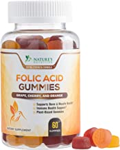 Folic Acid Gummies for Women, Recommended Daily Prenatal Vitamins 400mcg, Made in USA, Chewable Folate Nutrition Supplement for Before, During, and After Pregnancy - 60 Gummies