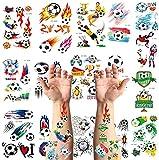 Fútbol Tatuajes temporales niños Falso Tatuaje Temporal Pegatinas Tatoos Infantiles Chicos Fiestas cumpleaños de niños Regalo piñata, 18 Hojas,Tatuajes Temporales para Niños Niñas