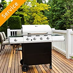 Assembly of 1 customer-supplied grill, including connecting customer-supplied propane tank. Connecting to a natural gas line is not included. Moving product to another location is not included Typical assembly time of 3 hours Removal of packaging mat...