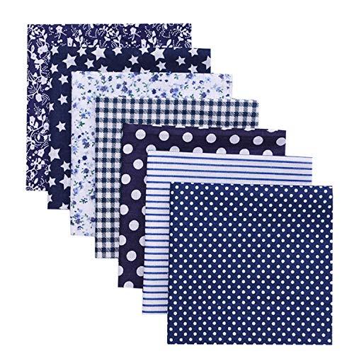 7 pezzi Tessuto Cotone per cucire, NIAGUOJI Blu Stoffa patchwork a metro quadrati per scrapbooking fai da te creativo, floreale fogli di tessuti materiale, 50 x 50 cm