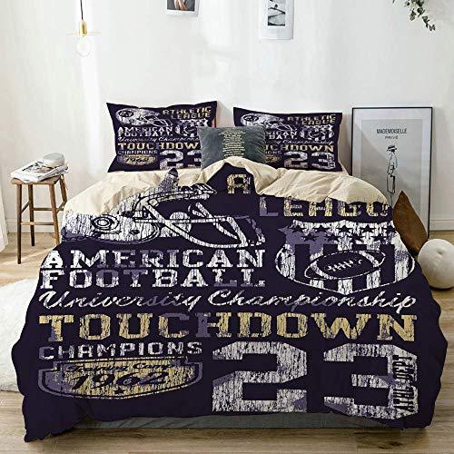 Juego de funda nórdica beige, estilo retro, fútbol americano, tema universitario, ilustración, campeonato atlético, juego de cama decorativo de 3 piezas con 2 fundas de almohada, fácil cuidado, antial