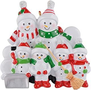 MAXORA Sweeping Snowman Family of 6 Funny Christmas Ornament