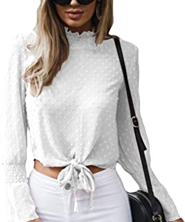 GUOCAI Womens Chiffon Bell Sleeve Twist Knot Front Loose Chiffon Cropped Shirt