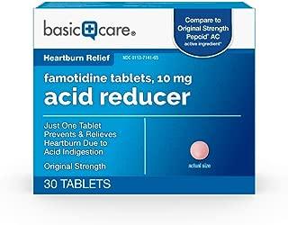 Basic Care Original Strength Famotidine Tablets, 10 mg, Acid Reducer for Heartburn Relief, 30 Count