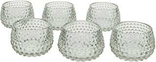 """Koyal Wholesale 2"""" Tall Clear Modern Hobnail Glass Candle Holders, Set of 6 Holders, Bulk Tealight Holders, Tablescapes, W..."""