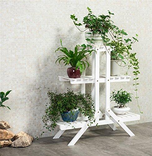 Supports de fleur en bois créatifs blancs/présentoir de plancher de style de fleur de balcon de plante de pied