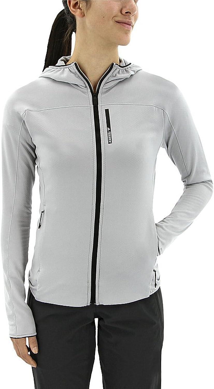 Adidas outdoor Women's Terrex Tracerocker Hooded Fleece Clear Onix Shirt