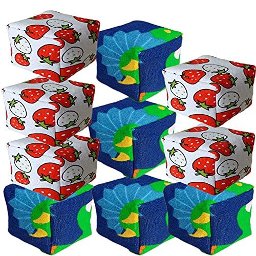 LESIXW Mapas de Arena de alforfón de Lienzo Hecho a Mano niños lanzando Bolsas de Arena Padre-niño Interactive Beanbags 10 Paquetes,Dinosaur and Strawberry