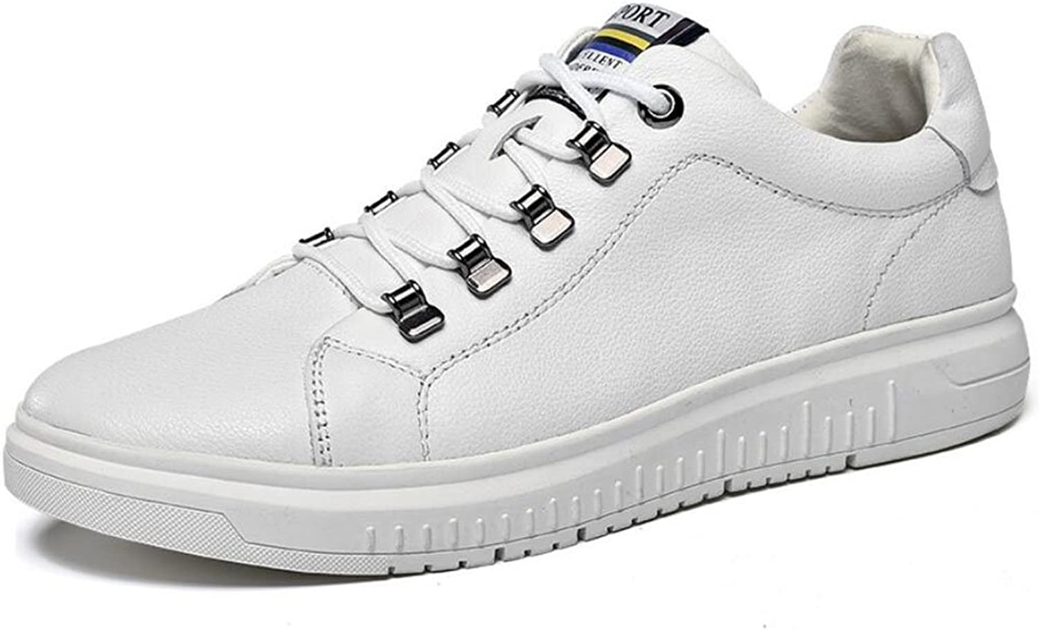 Men's shoes Leather Athletic shoes Spring Fall Winter Mens Comfort Sneakers Cycling shoes Walking shoes (color   White, Size   38)