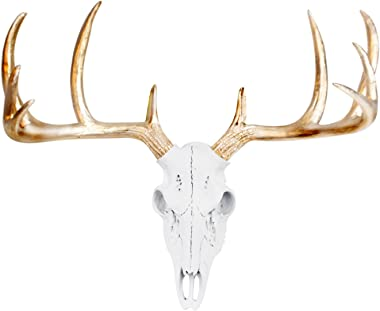 "WALL CHARMERS Mini White + Gold Antler Faux Deer Skull - 16"" Faux Taxidermy Animal Head Wall Decor - Handmade Farmhouse Decor"