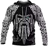 DFWY 3D Printing Men's Viking Odin's Eye Tattoo Hoodie Nordic Mythology Long Sleeve Sweatshirt Loose Oversized Pullover (Color : Hoodie, Size : XXXX-Large)