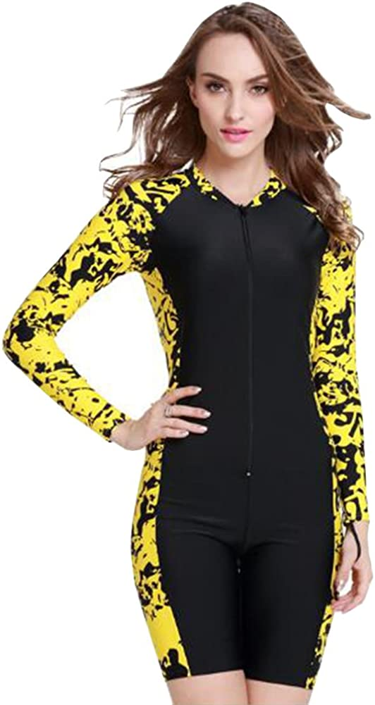 Wowdecor Surfing Swimsuits for Women Men One Piece Long Sleeve Sun Protection Rash Guard Suit Aqua Blue Floral (Women-Yellow, XL(Height: 5'7