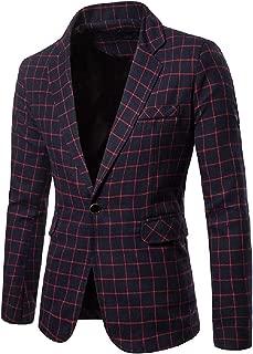 neveraway Mens Stylish One Button Notch Lapel Patch Plaid Trim-Fit Blazer Jacket