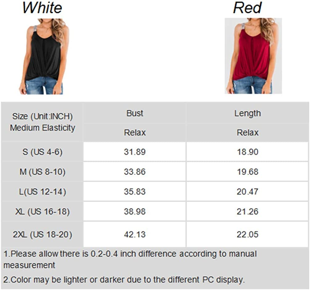 BLENCOT Women's Scoop Neck Strappy Tank Tops Sleeveless Twist Knot Blouses Tunic Shirts