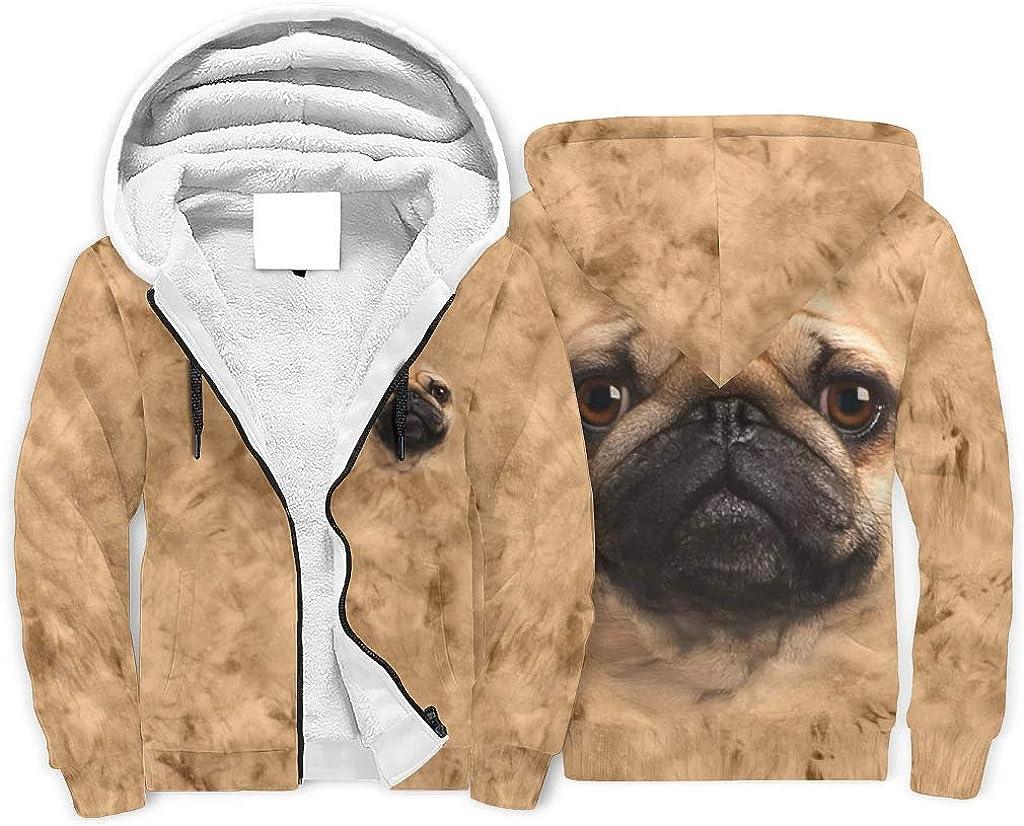 Fleece Zipper Hoodie Kids Pug Face Plus Cashmere Hooded Pullover Sports Hoody Sweatshirt Boys Girls with Pockets