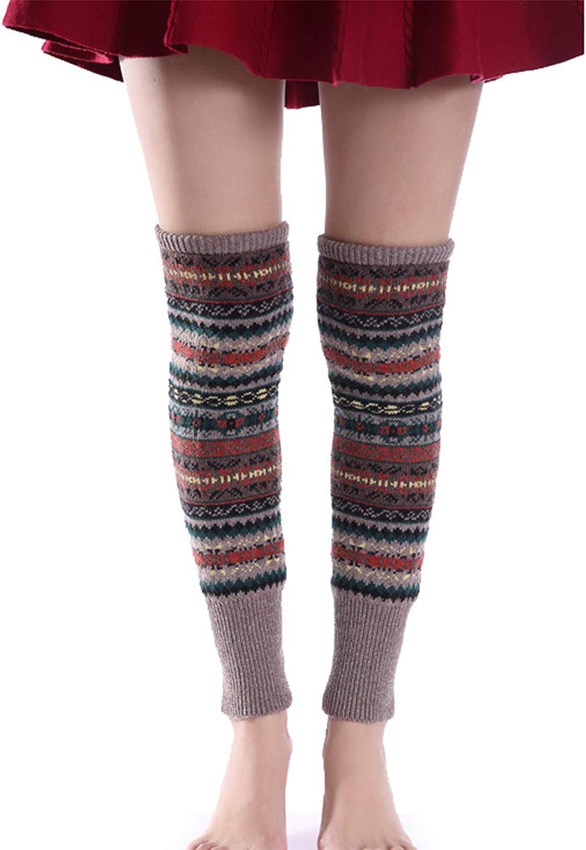 ZRSYH Girls Winter Warm Warmer Knitted Long Cuff Women Leg Warmer Girls Ladies Adults Long Soft Knee High Legging Socks Boot Leg Warmer,Khaki