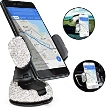 Bling Luxury Rhinestone Car Stand Phone Holder Car Windshield Dashboard Mount Adjustable Phone Holder for Easy View GPS Screen Compatible with iPhone 5s 7 7 Plus SE 8s Plus (Silver)