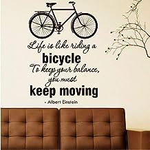 La Vida Es Como Andar En Bicicleta Pegatinas De Pared Sala De Estar Decoración Del Hogar Patrón De Bicicleta Diy Vinilo Ex...