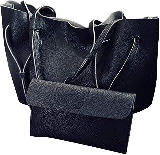 BESTOYARD Damen Casual Handtasche Große Einkaufstasche Retro PU Leder Schultertasche mit Kleiner Kosmetiktasche (Schwarz)