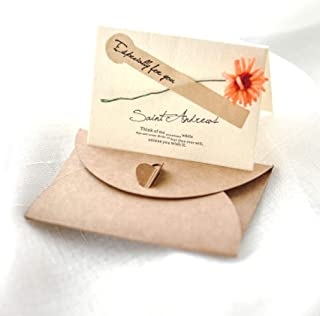 6pcs Kraft Paper Creativity Real Flower Pop Up Card Wedding Invitations Thanksgiving Birthday Cards Thank You Card with Envelopes