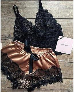 2Pcs/Set Sexy Female V-Neck Sleeveless Nightwear Women Underwear Sexy Silk Satin Lingerie Lady Pajamas Crop Tops Bra+Short...