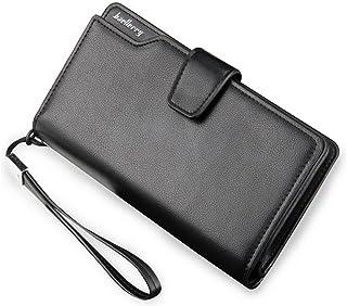 Strimm Leather Zipper Business Wallet Handbag Organizer Checkbook Purse with Wrist Strap