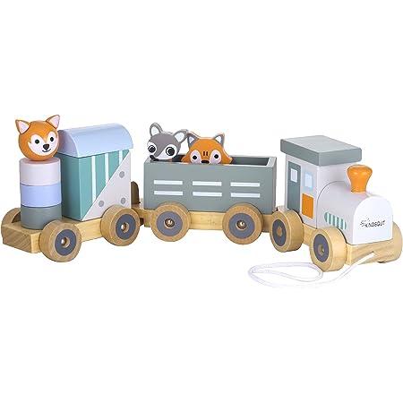 Kindsgut trenino giocattolo in legno, locomotiva giocattolo, striscie