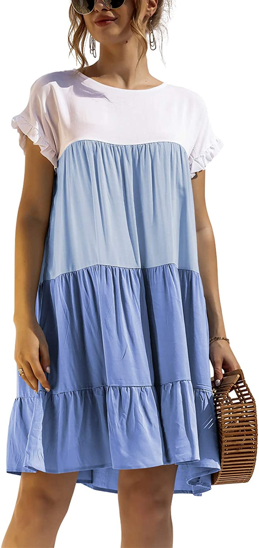 acelyn Womens Tiered Babydoll Dress Casual Loose Ruffle Sleeve Knee Length Mini Dress Flowy Pleated Dress