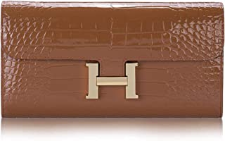 Moniyaa 財布 レディース 本革 長財布 多機能 手持ち財布 ワニ柄 ポーチ 宴会ウォレット ボックス付き
