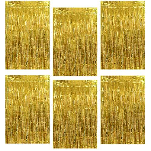 GoMaihe Metallische Lametta Vorhänge,6 Stück Folie Fransen,Quaste Folie Vorhang für Geburtstag/Silvester/Halloween/Hochzeit/Summer Pool Photo Booth Party Deko (Gold)