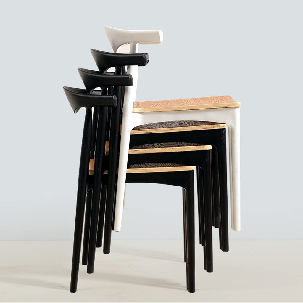 GLJ Chaise de salle à manger chaise de bureau minimaliste moderne étude à domicile chaise de négociation chaise tabouret chaise 54.5x74.5cm Tabouret de bar (Color : Black) White