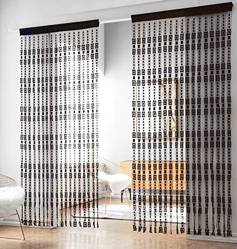 HSYLYM - Cortina de tiras de cintas de tela jacquard en poliéster para ventanas, decoración del hogar. Medidas: 100 x 218 cm, poliéster, negro, 100x220cm(39x86inch)