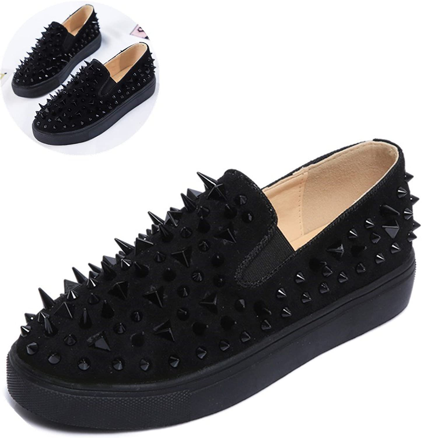 An Meng Xin Ling Fashion Flats for Women Spring Round Toe Slip On Loafers Suede Leather Rivet shoes Black Red gold